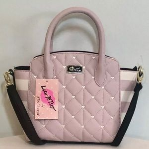 NWT Betsey-Johnson Pink Quilt Heart Handbag Purse